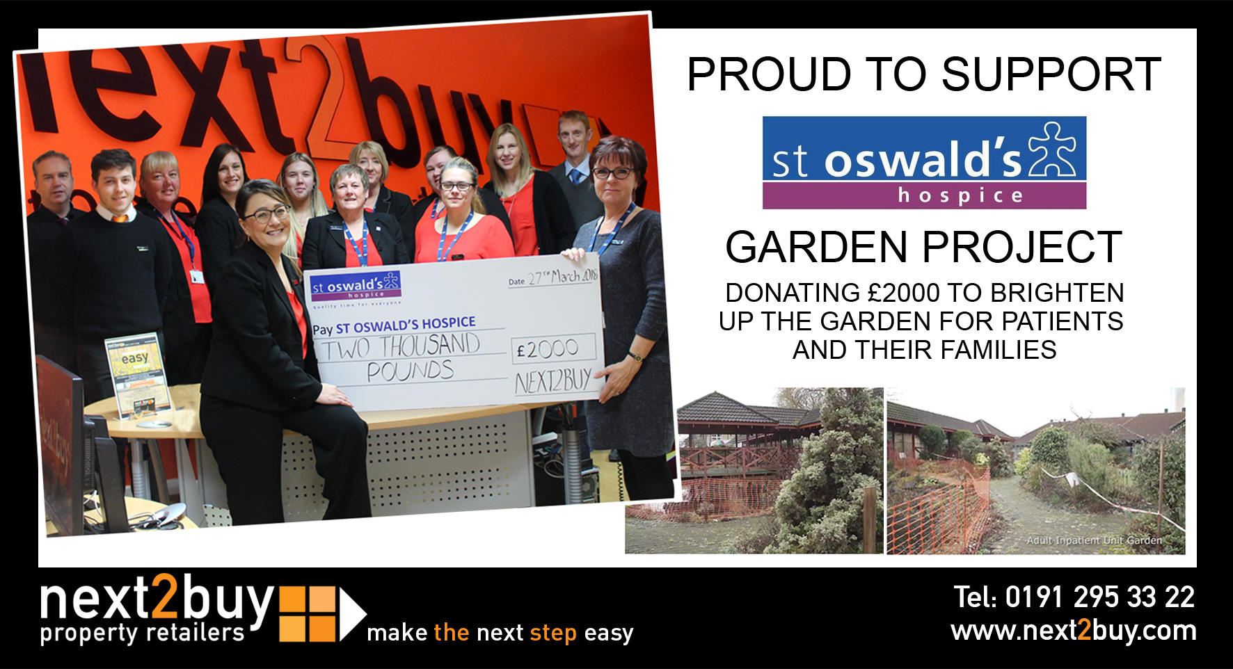 DONATION OF £2000 TO ST OSWALD'S HOSPICE