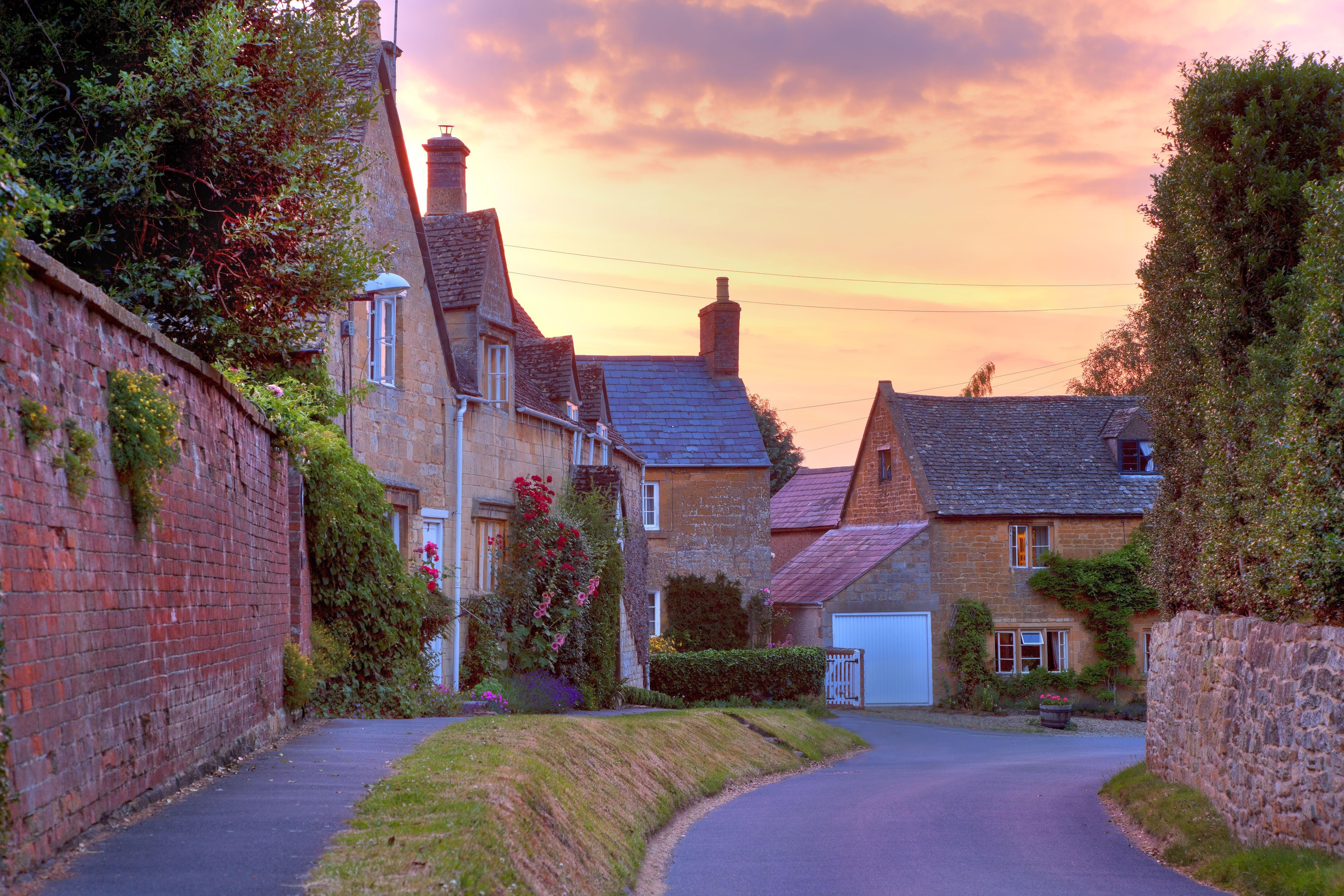 pretty English stone village sunset