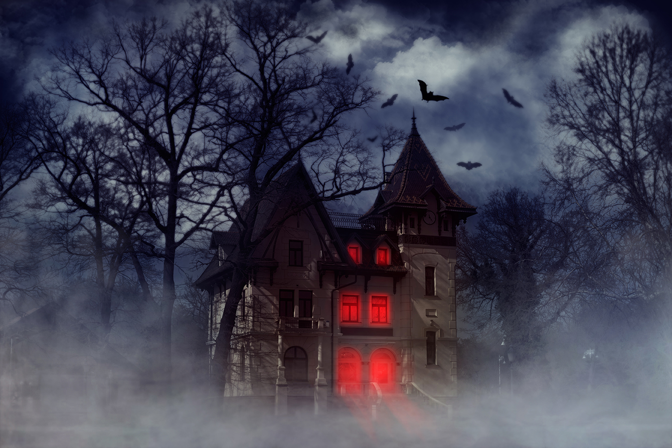 scary haunted halloween house bats red