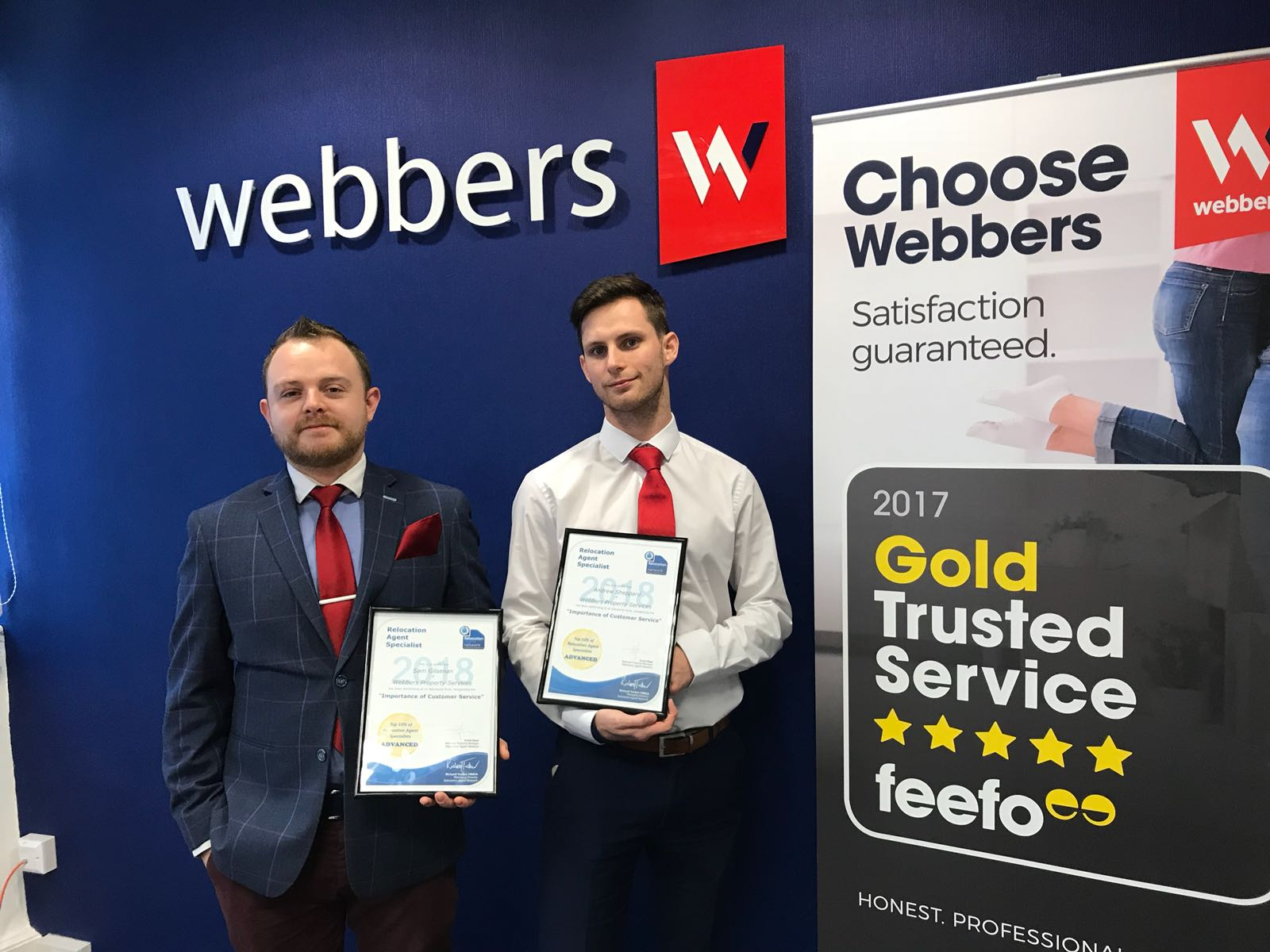 Customer Care's Andrew Sheppard and Sam Gilsenan in top 10% of Relocation Specialist.