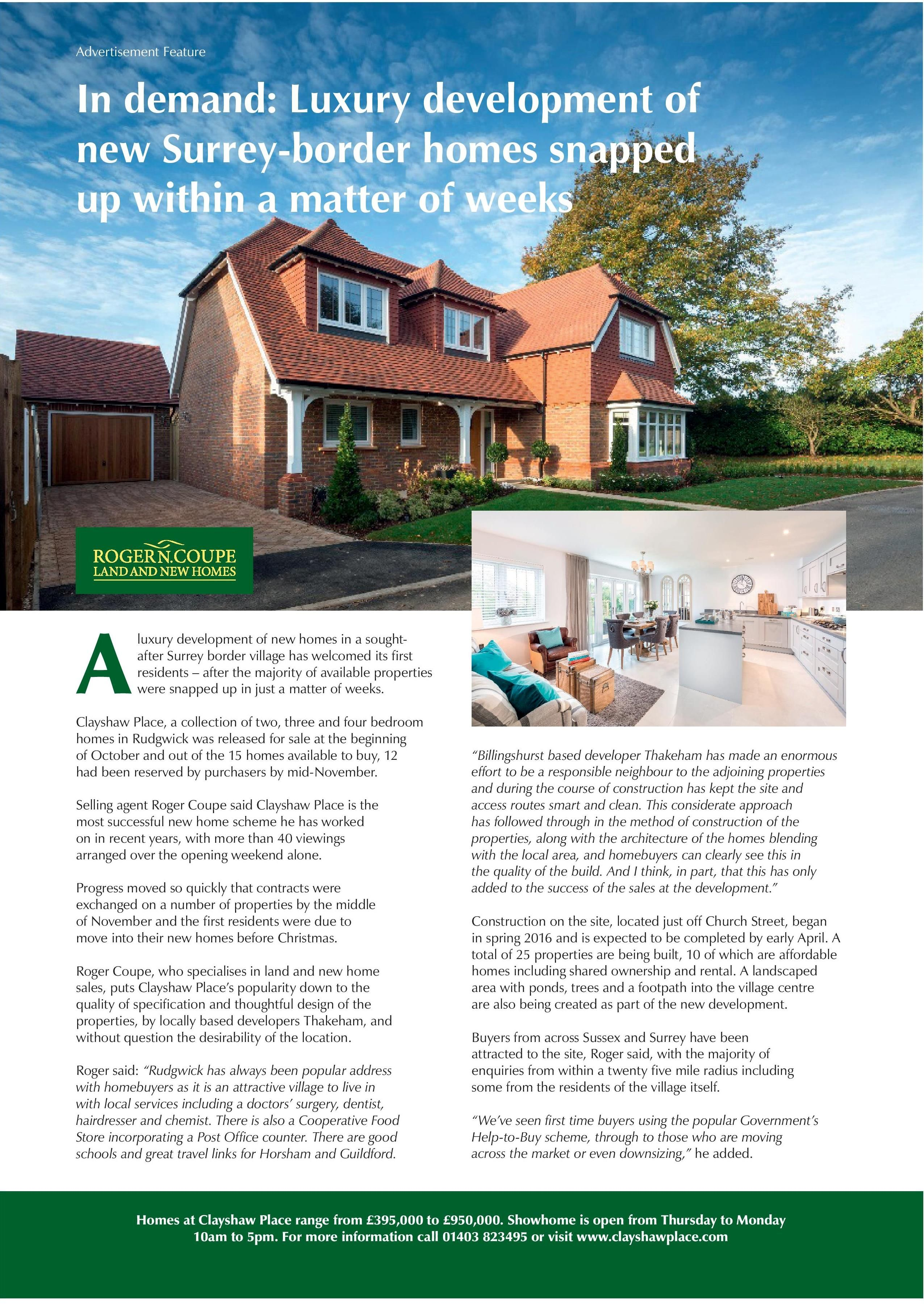 Only 2 properties remaining at Thakeham's stunning new development in Rudgwick