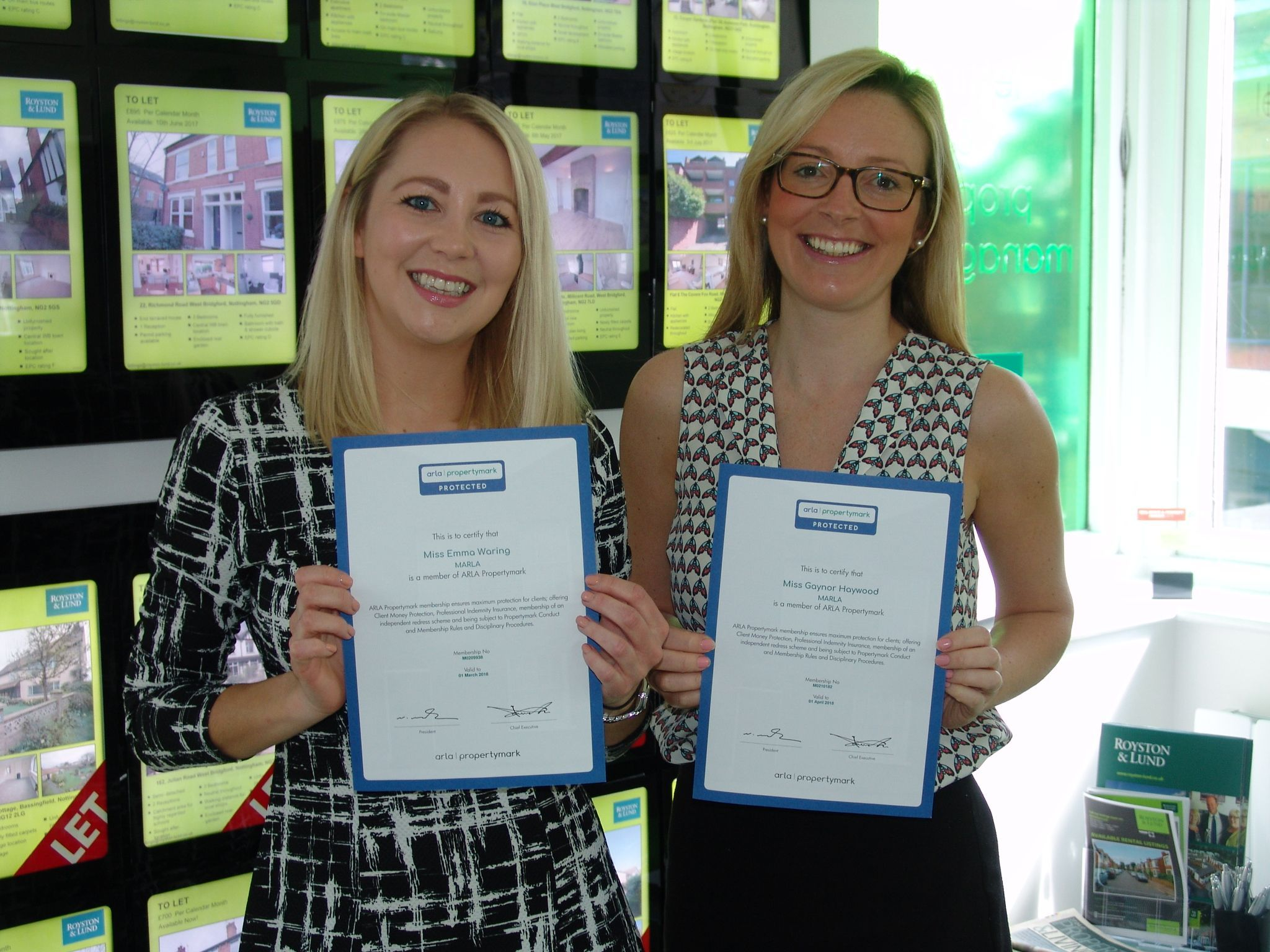 Lettings Team Expand on their Professional Qualifications – ARLA Membership for Emma Waring and Gaynor Haywood